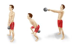 exercice de swing avec une kettlbell